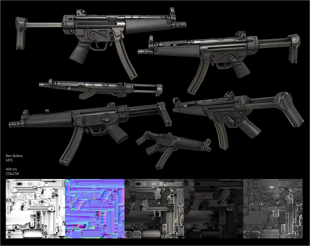 Ben Bolton. Lowpoly Guns [portfolio online]. 2015, source: https://www.artstation.com/artist/benbolton