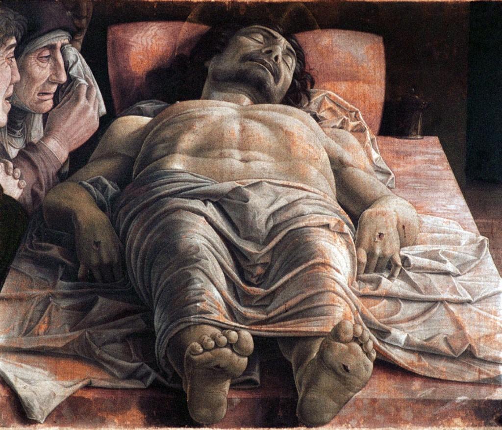 Andrea Mantegna. <b>Opłakiwanie zmarłego Chrystusa</b>. ok. 1480. [online], <i>źródło: https://pl.wikipedia.org/wiki/Op%C5%82akiwanie_zmar%C5%82ego_Chrystusa_(obraz_Mantegni)</i>