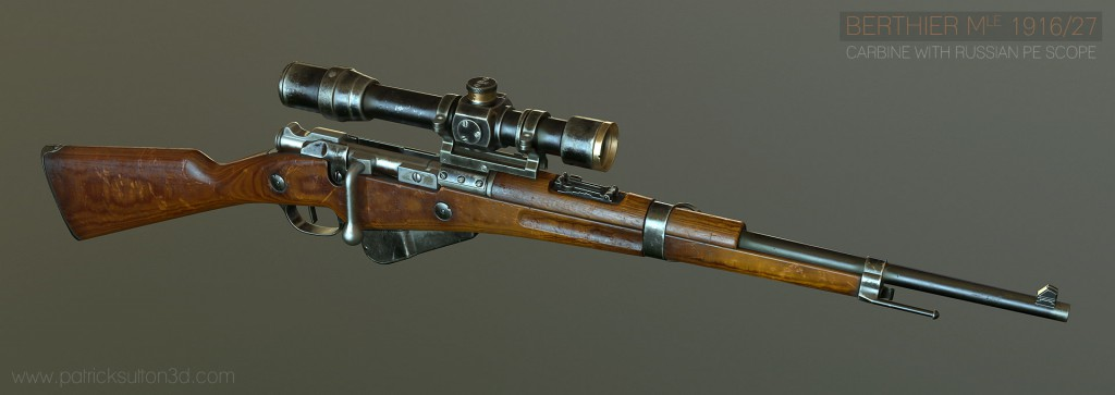 Patrick Sutton. Berthier Carbine with PE Scope [portfolio online]. 2015, source: https://www.artstation.com/artwork/Vy62b