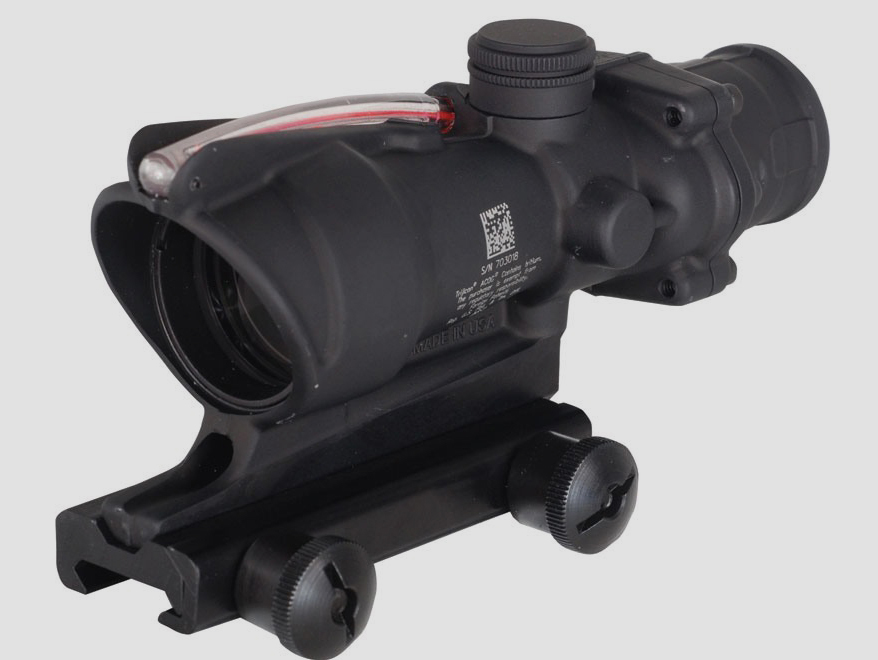 Trijicon ACOG TA31 BAC Rifle Scope 4x 32mm Dual-Illuminated Horseshoe Dot 223 Remington Reticle with TA51 Flattop Mount Matte [online]. source: http://www.midwayusa.com/product/1583138947/trijicon-acog-ta31-bac-rifle-scope-4x-32mm-dual-illuminated-horseshoe-dot-223-remington-reticle-with-ta51-flattop-mount-matte