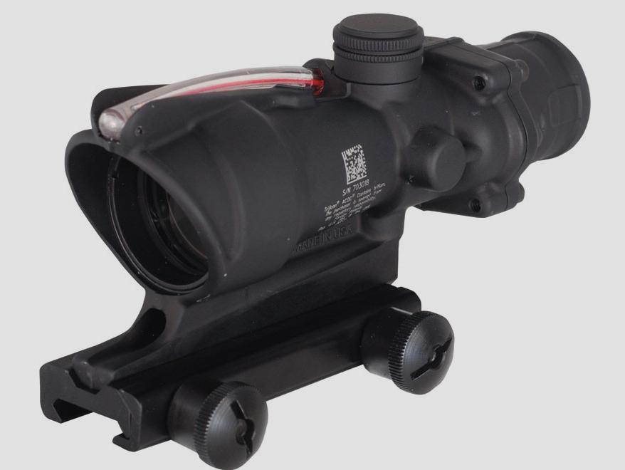 Trijicon ACOG TA31 BAC Rifle Scope 4x 32mm Dual-Illuminated Horseshoe Dot 223 Remington Reticle with TA51 Flattop Mount Matte [online]. source: http://www.midwayusa.com/product/1583138947/trijicon-acog-ta31-bac-rifle-scope-4x-32mm-dual-illuminated-horseshoe-dot-223-remington-reticle-with-ta51-flattop-mount-matte